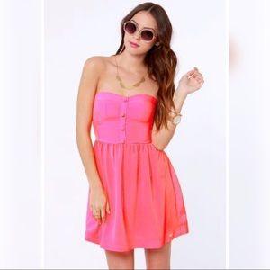 ROXY Good Times neon pink tube strapless dress M